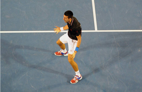 Novak Djokovic celebrates victory at the 2012 Australian Open
