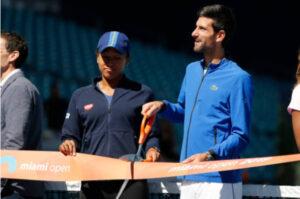 Naomi Osaka and Novak Djokovic pictured at the 2019 Miami Open.