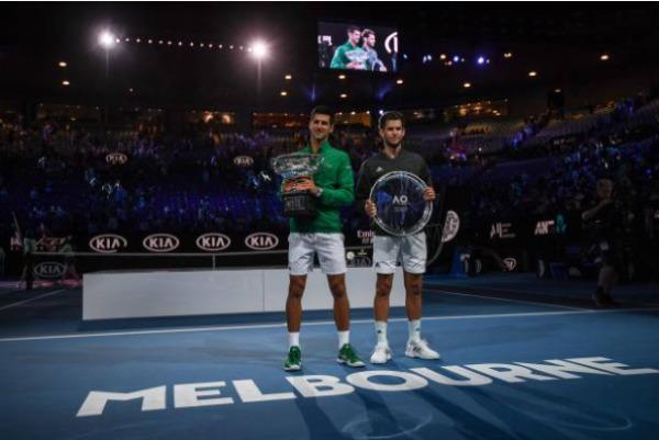 2020 Australian Open champion and runner-up Novak Djokovic and Dominic Thiem