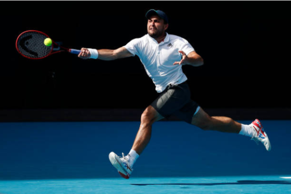 Aslan Karatsev in action at the Australian Open