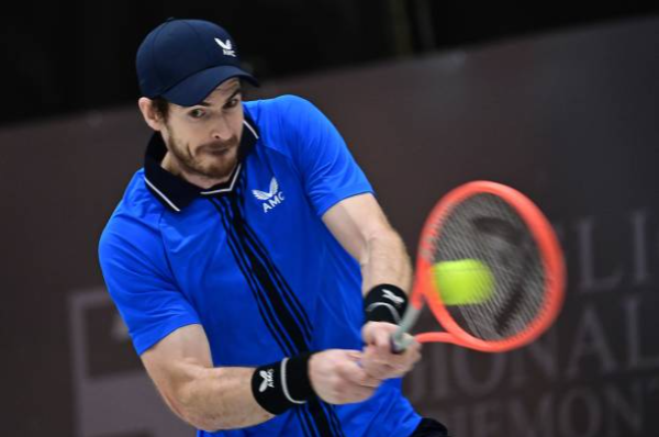 Andy Murray in action at the Biella Challenger