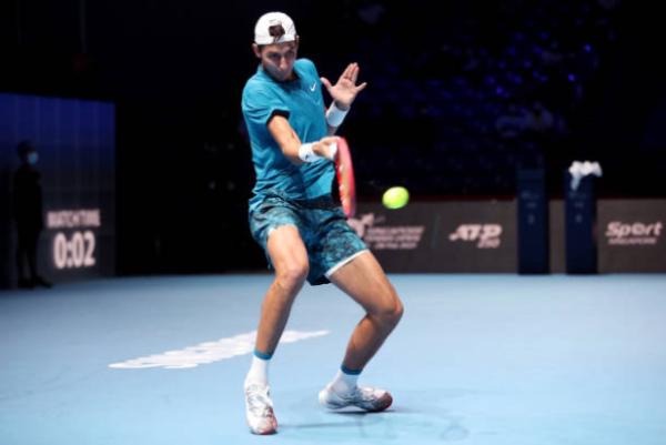 Alexei Popyrin in action at the ATP Singapore Tennis Open