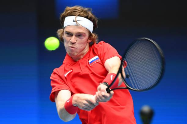 Andrey Rublev in action at the 2021 ATP Cup