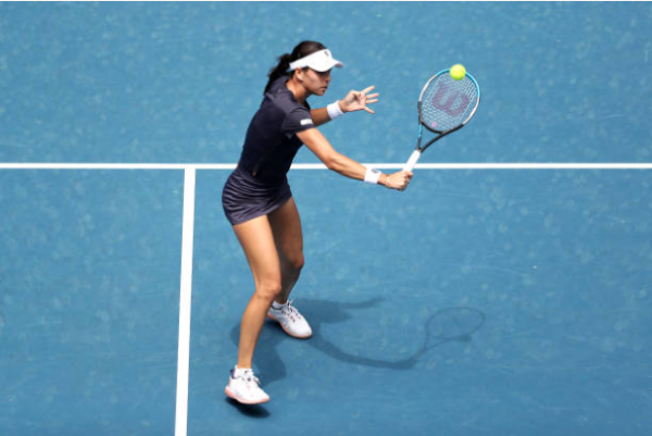Ajla Tomljanovic in action ahead of the Australian Open