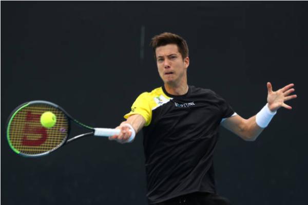 Aljaz Bedene in action at the ATP Dubai Tennis Championships.