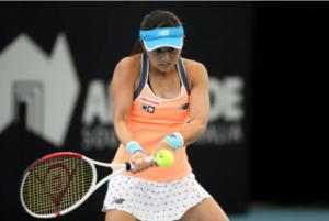 Misaki Doi in action ahead of the WTA Qatar Open.