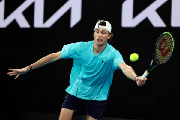 Ugo Humbert in action ahead of the ATP Rotterdam Open