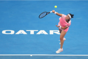 Ons Jabeur in action at the WTA Qatar Open.