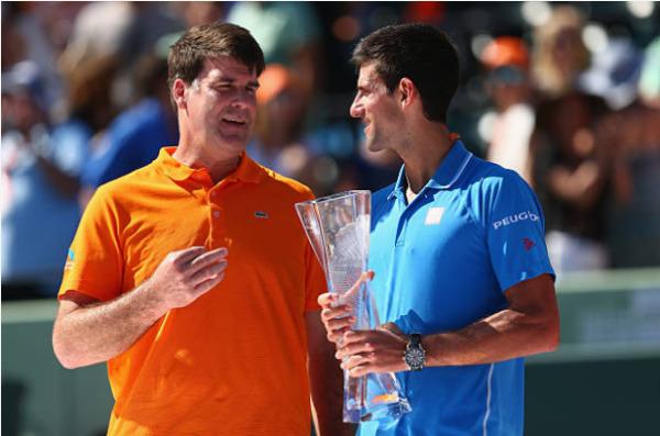 ATP Miami Open champions Novak Djokovic and Tim Mayotte.