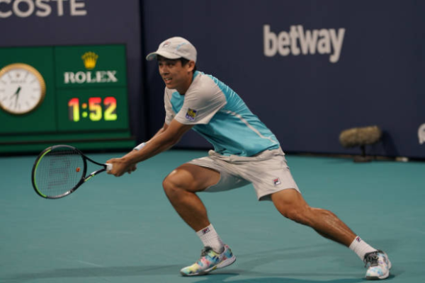 Mackenzie McDonald in action at the ATP Miami Open.