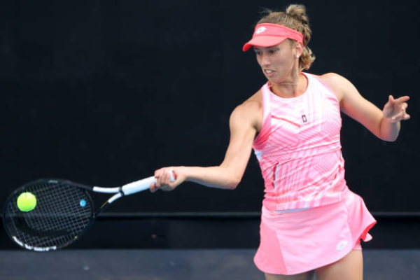 Elise Mertens in action ahead of the WTA Dubai Tennis Championships.