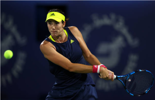 Garbine Muguruza in action at the WTA Dubai Tennis Championships.