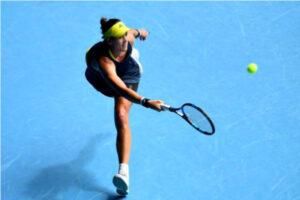 Garbine Muguruza in action ahead of the WTA Qatar Open.