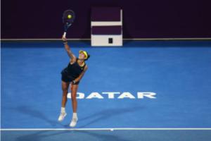 Garbine Muguruza in action at the WTA Qatar Open