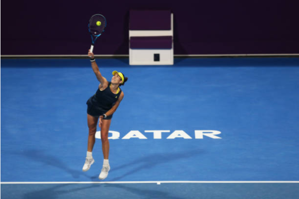 Garbine Muguruza in action at the WTA Qatar Open