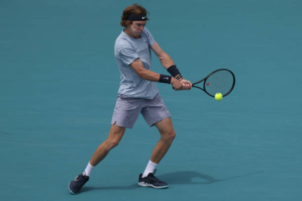 Andrey Rublev in action at the ATP Miami Open.