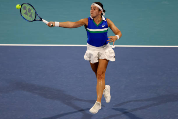 Anastasija Sevastova in action at WTA Miami Open.