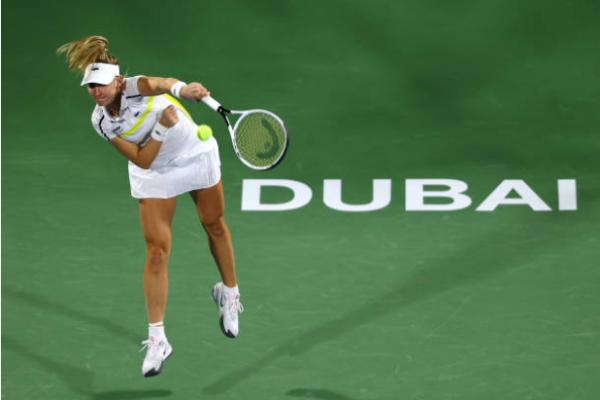 Jil Teichmann in action at the WTA Dubai Tennis Championships.