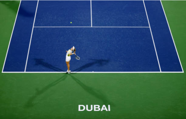 Jil Teichmann in action at the WTA Dubai Tennis Championships.