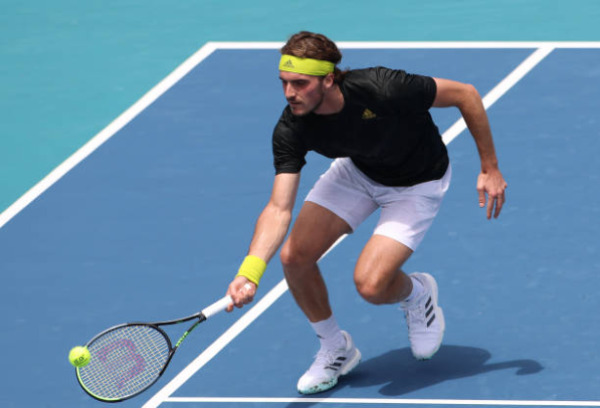 Stefanos Tsitsipas in action at the ATP Miami Open.