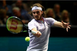 Stefanos Tsitsipas in action at the ATP Rotterdam Open.