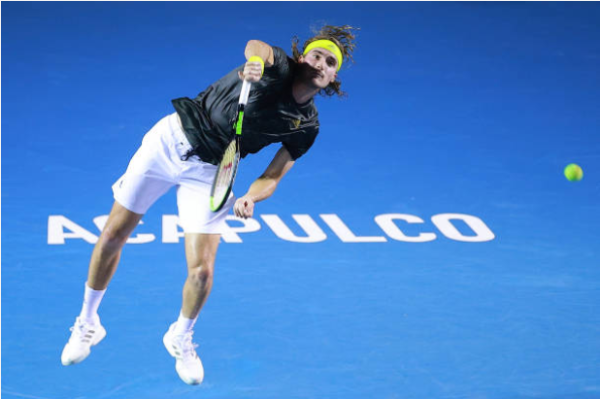 Stefanos Tsitsipas in action at the ATP Acapulco Open.