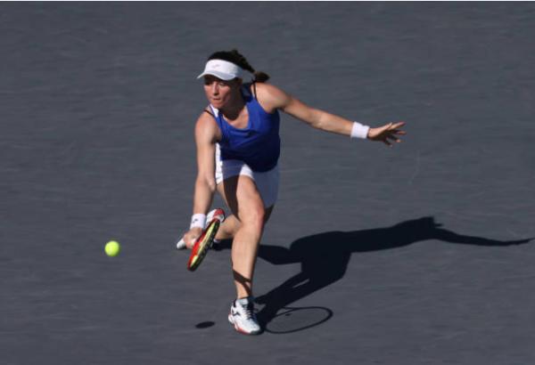 Tamara Zidansek in action at the WTA Guadalajara Open.