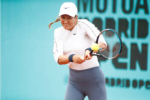 Victoria Azarenka in action at the WTA Madrid Open.
