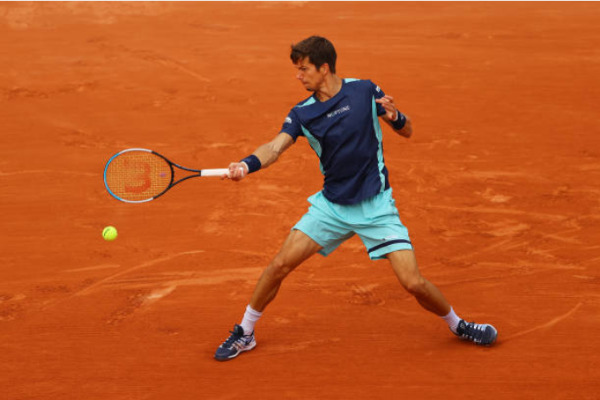 Aljaz Bedene in action ahead of the ATP Sardinia Open.