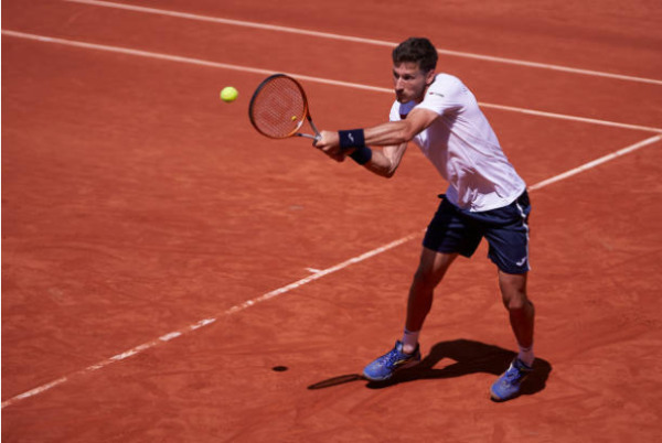 Pablo Carreno Busta in action at the ATP Monte Carlo Masters.
