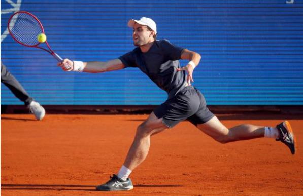 Aslan Karatsev in action at the ATP Belgrade Open.