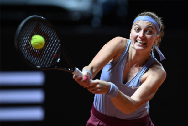 Petra Kvitova in action at the WTA Stuttgart event.