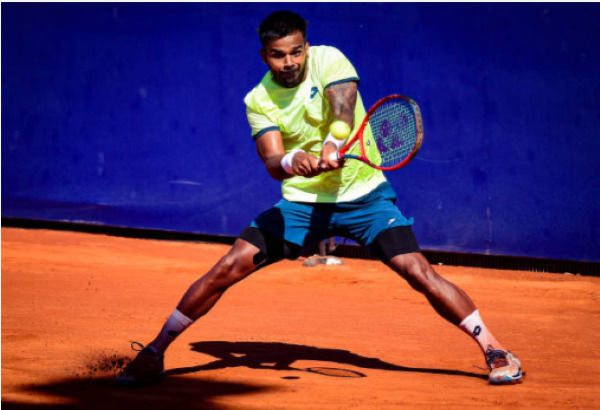 Sumit Nagal in action ahead of the ATP Sardinia Open.