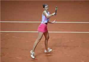 Karolina Pliskova in action at the WTA Stuttgart Tennis Grand Prix.