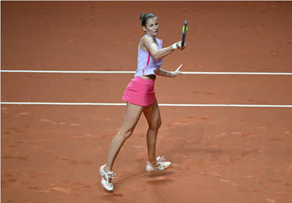 Karolina Pliskova in action at the WTA Stuttgart Tennis Grand Prix.