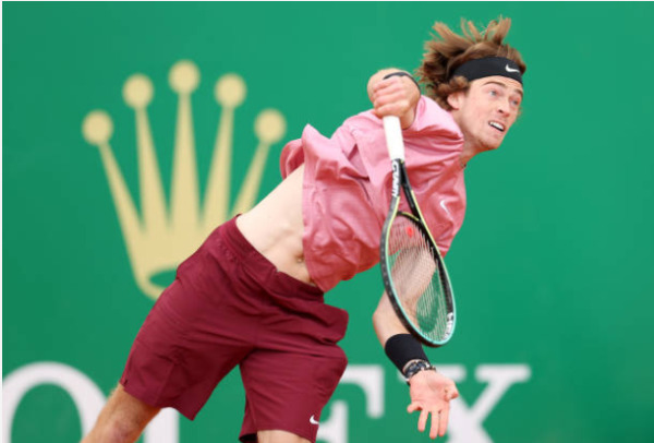 Andrey Rublev in action at the ATP Monte Carlo Masters.