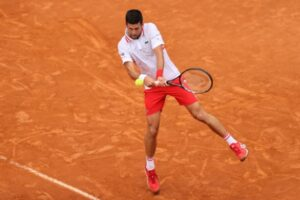 Novak Djokovic in action at the ATP Rome Masters.