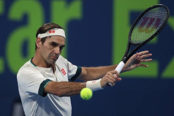 Roger Federer in action in Doha.