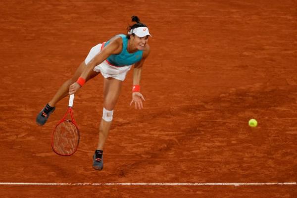 Caroline Garcia in action ahead of the WTA Strasbourg International.