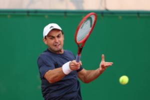 Aslan Karatsev in action ahead of the ATP Madrid Open.