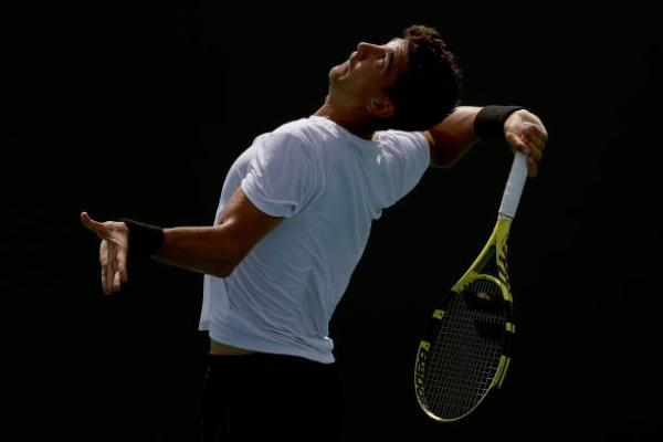 Thanasi Kokkinakis in action on the ATP Challenger Tour.