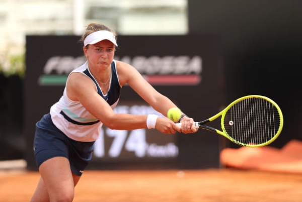 WTA Strasbourg International semifinalist Barbora Krejcikova in action.