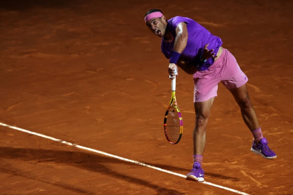 Rafael Nadal in action at the ATP Rome Masters.