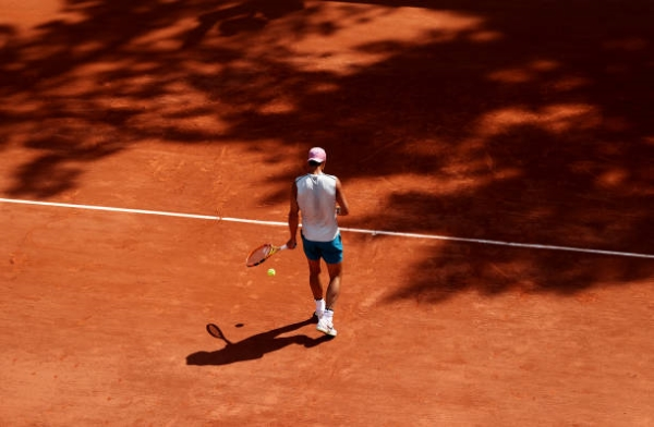 Rafael Nadal training ahead of the French Open.