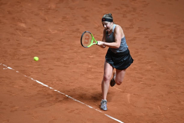 Jelena Ostapenko in action ahead of the WTA Rome Open.