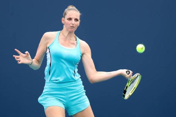 Krystina Pliskova in action at the WTA Serbia Open.