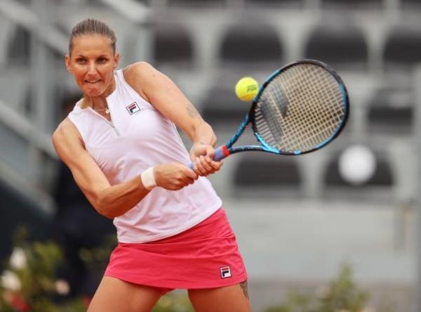 Karolina Pliskova in action at the WTA Rome Open.