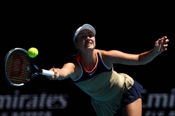 Anastasia Potapova in action ahead of the French Open.