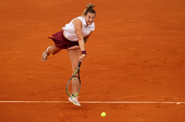 Aryna Sabalenka in action ahead of the French Open.