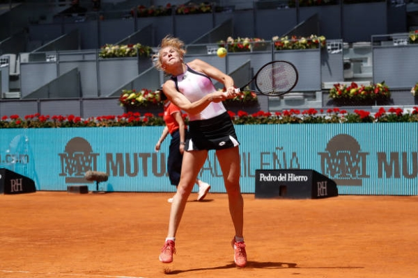 Katerina Siniakova in action ahead of the French Open.